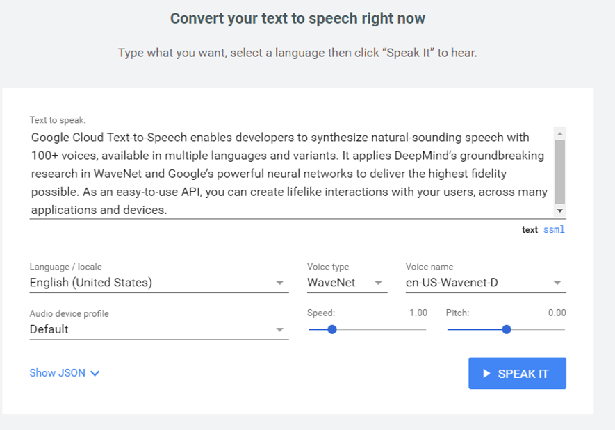 google text to speech interface