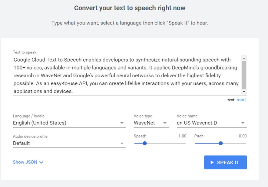 google text to speech interface